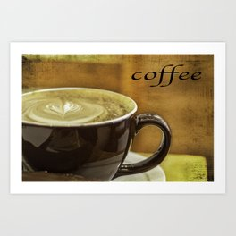 cappuccino coffee textured art Art Print