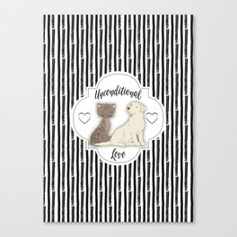 Unconditional Love Cat and Dog as Family Members Stripes Canvas Print