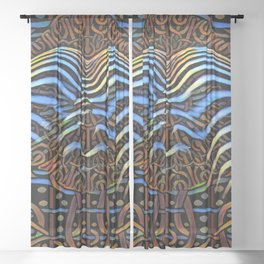 7852s-KMA_4972 Abstract Feminine Booty in Blue Stripes Sheer Curtain