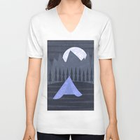 camping V-neck T-shirts featuring Camping by Imagonarium