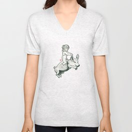 Girl on a flying pig Unisex V-Neck