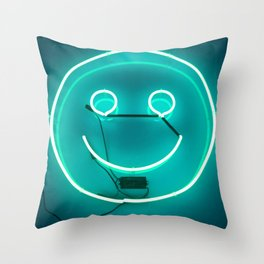 TEAL SMILE NEON SIGN Throw Pillow