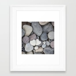 Heart Pebble Stone Mineral Love Symbol Framed Art Print