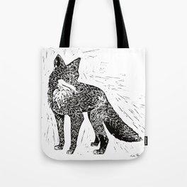 Fox Linoprint Tote Bag