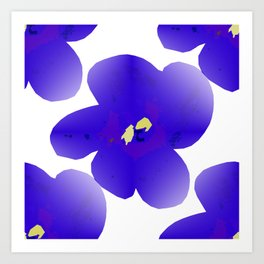 Large Retro Blue Flowers #1 White Background #decor #society6 #buyart Art Print