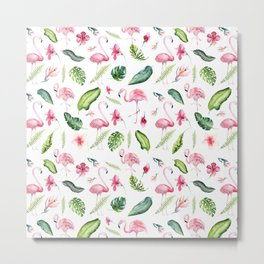 Pink green watercolor tropical hand painted flamingo Metal Print