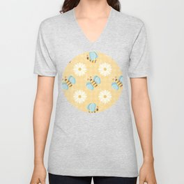Cute Bees & Daises Pattern with Gingham Background Unisex V-Neck