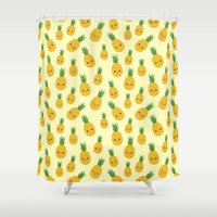 pineapples Shower Curtains featuring Pineapples by Sara Showalter
