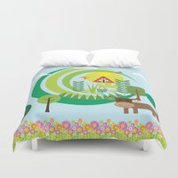 farm Duvet Covers featuring Farm by Design4u Studio