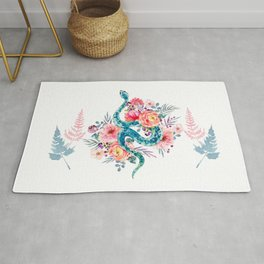Blue Watercolor Snake In The Flower Garden Rug