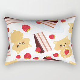 attern cute kawaii hamster with fresh Strawberry, cake decorated pink cream and chocolate Rectangular Pillow