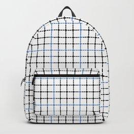 Dotted Grid Weave Blue Black Backpack
