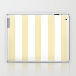 Lemon meringue pink - solid color - white vertical lines pattern Laptop & iPad Skin