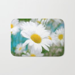 Daisies flowers in painting style 4 Bath Mat