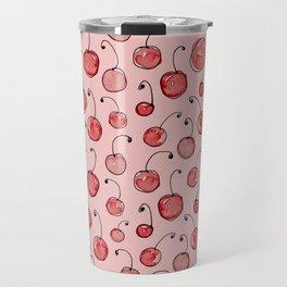 Cherries on pink Travel Mug