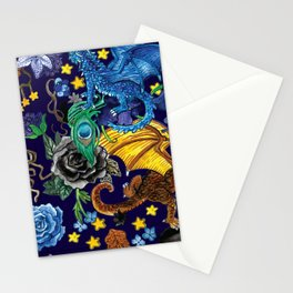 Dragons Flowers and Stars Magic Fantasy Pattern Stationery Cards
