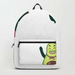 Cartoon Avocado Hero in Flight Backpack