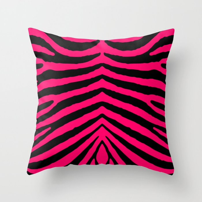Black and Hot Neon Pink Zebra Animal Safari Stripes Throw Pillow