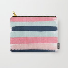 Striped painted coral mint navy pink pattern stripes minimalist Carry-All Pouch