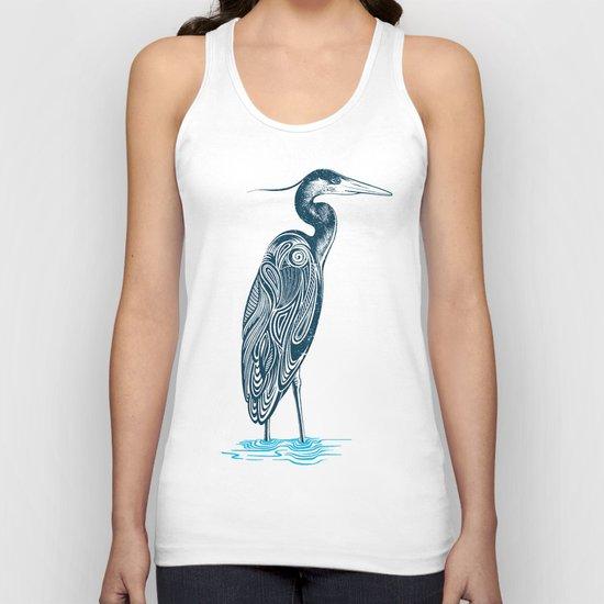 Bewitching blue heron Unisex Tank Top