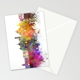 Padua skyline in watercolor background Stationery Cards