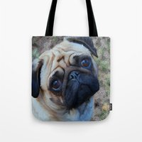 pug Tote Bags featuring Pug by Whimsy Notions Designs