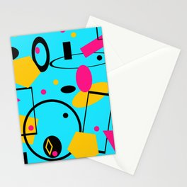 retro geometric  abstract design  blue Stationery Cards