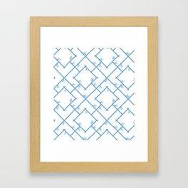 Bamboo Chinoiserie Lattice in White + Light Blue Framed Art Print