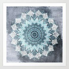 BOHOCHIC MANDALA IN BLUE Art Print