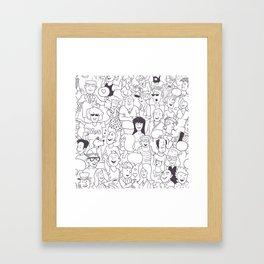Seamless Funny Doodle People Background Framed Art Print