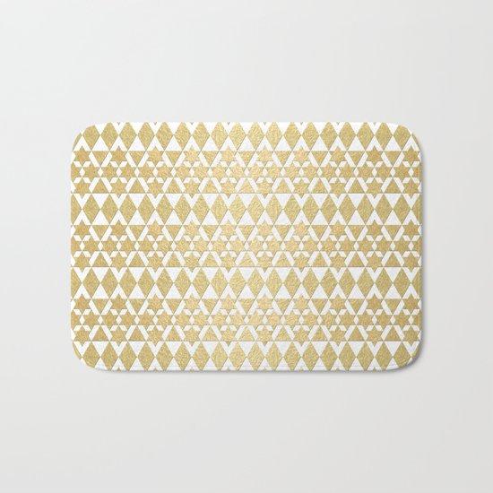 White and Gold Geometric Pattern 4 Bath Mat