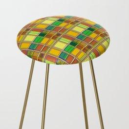Caribbean Colorful Fabric Madras Tartan Counter Stool