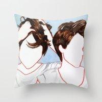 tegan and sara Throw Pillows featuring Tegan and Sara by Kim Leutwyler