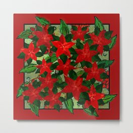 Christmas Design Poinsettias Metal Print