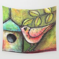shopping Wall Tapestries featuring House Shopping by Terri Stegmiller