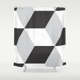 Cubism Black and White Shower Curtain