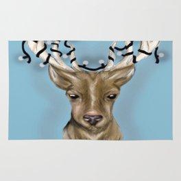 Deer head with string lights Rug