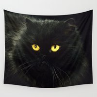 black cat Wall Tapestries featuring Black Cat by Erika Kaisersot