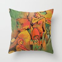 faces Throw Pillows featuring FACES by tidlin
