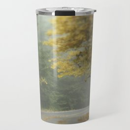Foggy autumn road Travel Mug