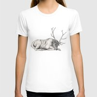stag T-shirts featuring Stag // Graphite by Sandra Dieckmann