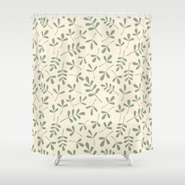 Green on Cream Assorted Leaf Silhouette Pattern Shower Curtain