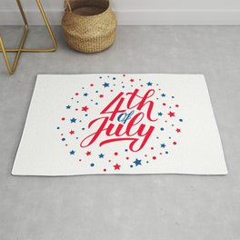 4th of July calligraphy hand lettering with red and blue stars confetti. USA Independence Day Rug