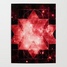 Red Galaxy Sacred Geometry: Rhombic Hexecontahedron Poster