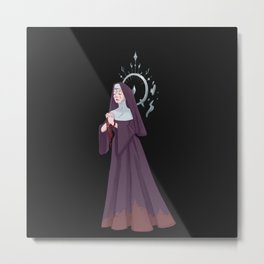 Crying nun with beaded necklace Metal Print