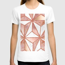Rose Gold Marble Geometric Abstract T-shirt