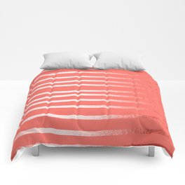 Living Coral Rose Gold Simply Drawn Stripes Comforters