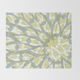 Leaf mandala // tropical leaf circular pattern Throw Blanket