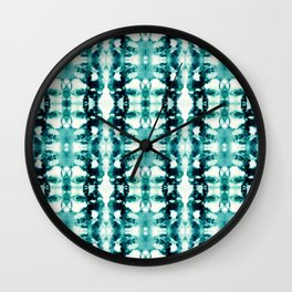Tie-Dye Teals Wall Clock