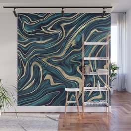 Teal Navy Blue Gold Marble #1 #decor #art #society6 Wall Mural